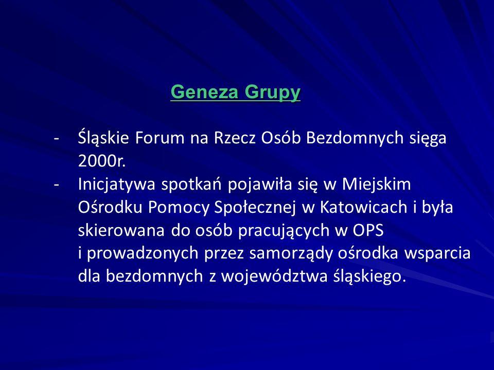 Geneza Grupy Geneza Grupy -Śląskie Forum na Rzecz Osób Bezdomnych sięga 2000r. -Inicjatywa spotkań pojawiła się w Miejskim Ośrodku Pomocy Społecznej w