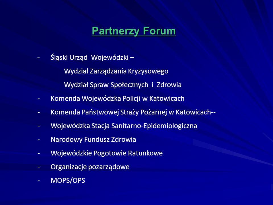 Partnerzy Forum Partnerzy Forum - Śląski Urząd Wojewódzki – Wydział Zarządzania Kryzysowego Wydział Spraw Społecznych i Zdrowia -Komenda Wojewódzka Po