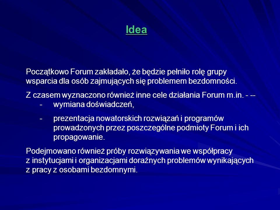 Idea Początkowo Forum zakładało, że będzie pełniło rolę grupy wsparcia dla osób zajmujących się problemem bezdomności. Z czasem wyznaczono również inn