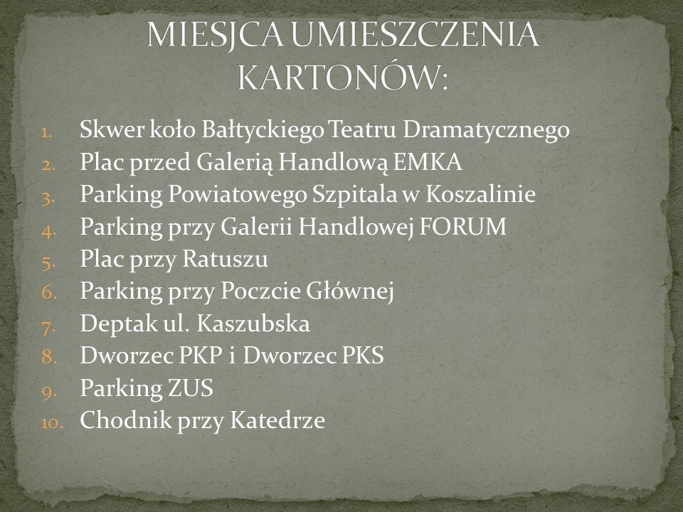 1. Skwer koło Bałtyckiego Teatru Dramatycznego 2. Plac przed Galerią Handlową EMKA 3. Parking Powiatowego Szpitala w Koszalinie 4. Parking przy Galeri