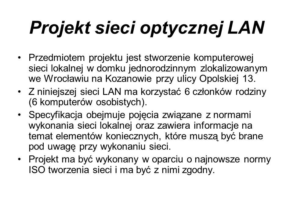 Projekt sieci optycznej LAN Przedmiotem projektu jest stworzenie komputerowej sieci lokalnej w domku jednorodzinnym zlokalizowanym we Wrocławiu na Koz