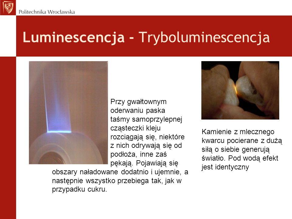 Luminescencja - Tryboluminescencja Kamienie z mlecznego kwarcu pocierane z dużą siłą o siebie generują światło. Pod wodą efekt jest identyczny Przy gw