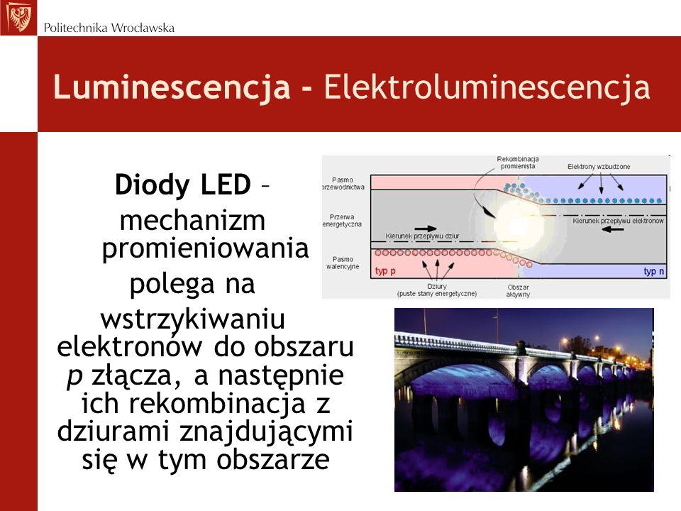 Luminescencja - Elektroluminescencja Diody LED – mechanizm promieniowania polega na wstrzykiwaniu elektronów do obszaru p złącza, a następnie ich reko