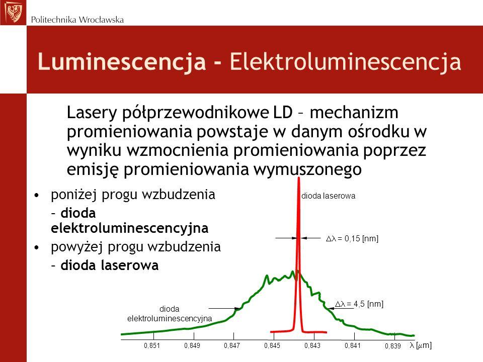 Luminescencja - Elektroluminescencja Lasery półprzewodnikowe LD – mechanizm promieniowania powstaje w danym ośrodku w wyniku wzmocnienia promieniowani