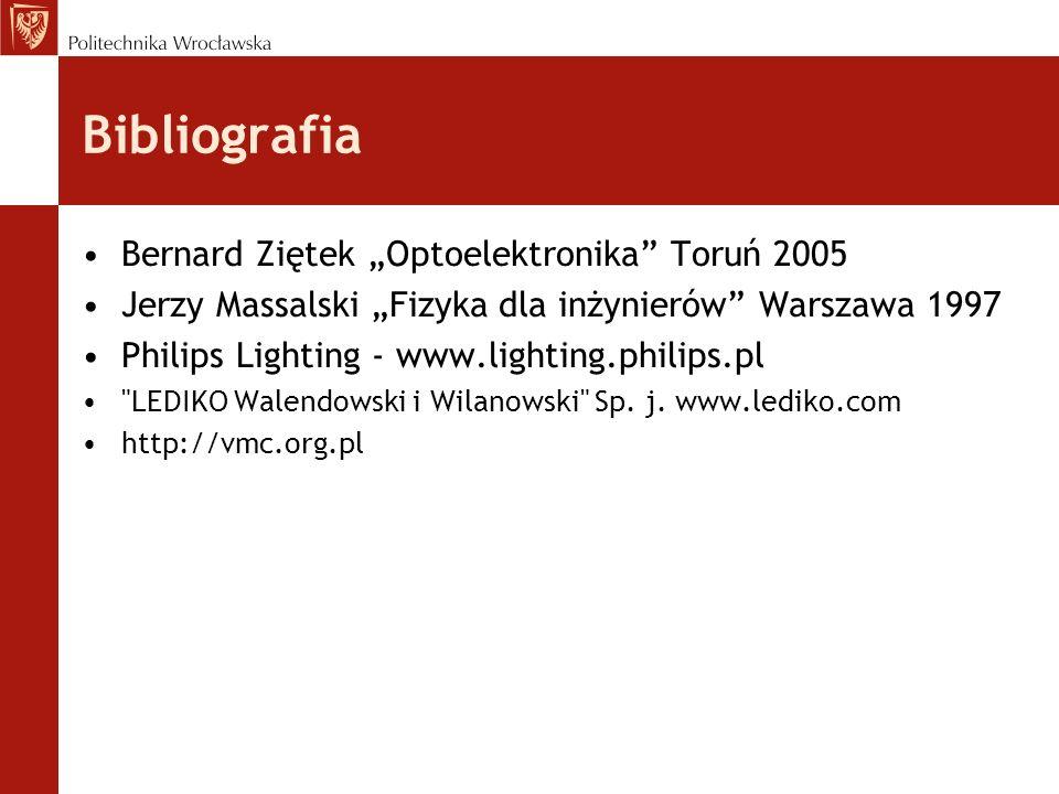 Bibliografia Bernard Ziętek Optoelektronika Toruń 2005 Jerzy Massalski Fizyka dla inżynierów Warszawa 1997 Philips Lighting - www.lighting.philips.pl