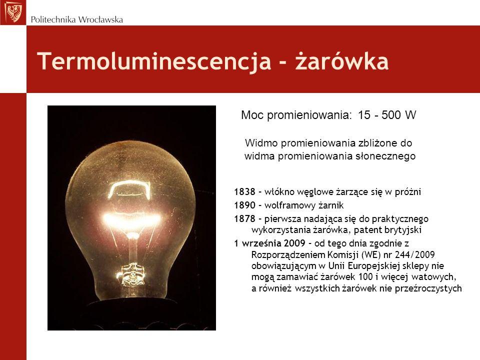 Termoluminescencja - żarówka 1838 – włókno węglowe żarzące się w próżni 1890 – wolframowy żarnik 1878 – pierwsza nadająca się do praktycznego wykorzys