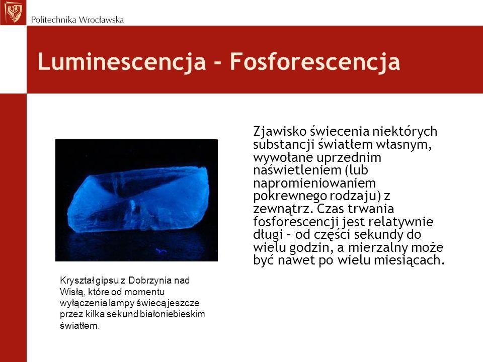 Luminescencja - Fosforescencja Zjawisko świecenia niektórych substancji światłem własnym, wywołane uprzednim naświetleniem (lub napromieniowaniem pokr