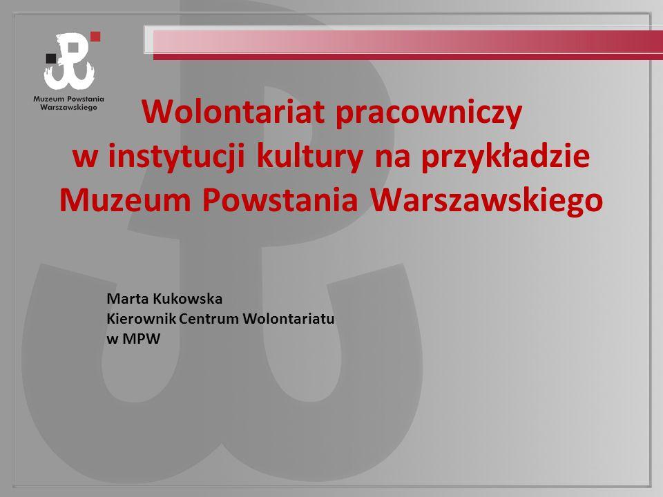 Wolontariat pracowniczy w instytucji kultury na przykładzie Muzeum Powstania Warszawskiego Marta Kukowska Kierownik Centrum Wolontariatu w MPW