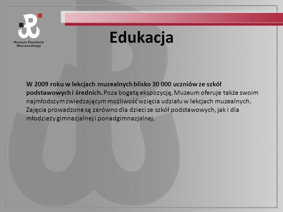 Edukacja W 2009 roku w lekcjach muzealnych blisko 30 000 uczniów ze szkół podstawowych i średnich.