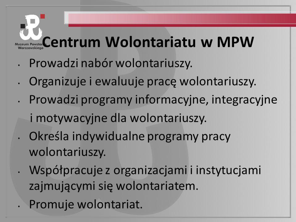 Centrum Wolontariatu w MPW Prowadzi nabór wolontariuszy.