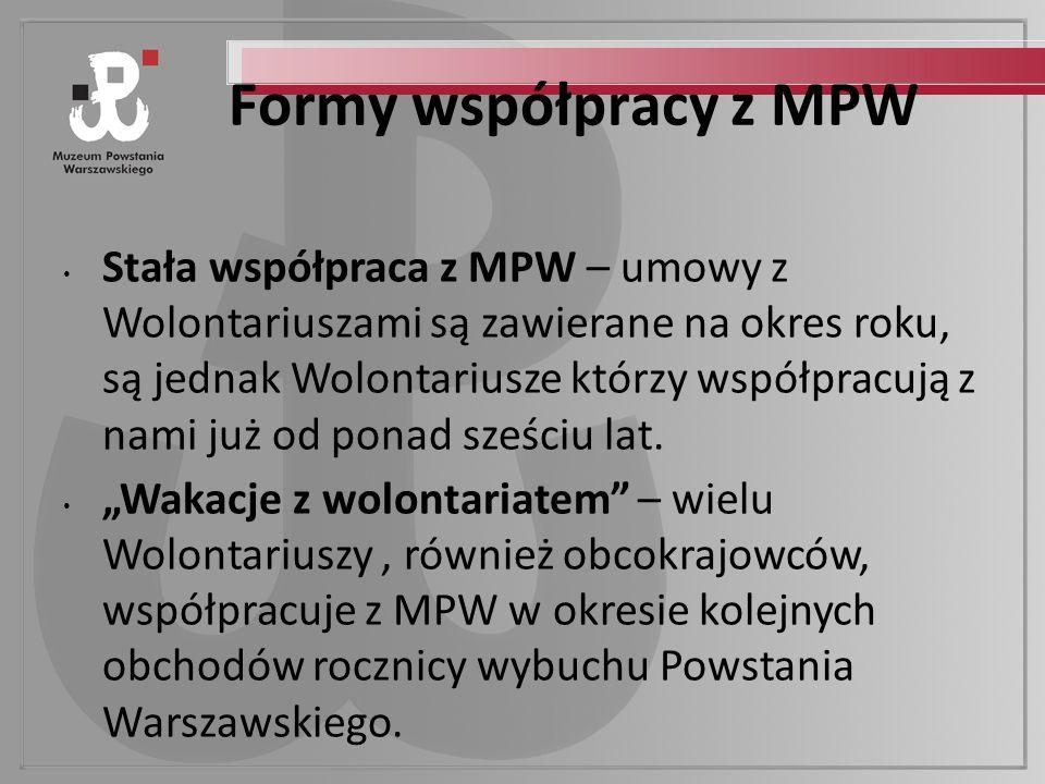 Formy współpracy z MPW Stała współpraca z MPW – umowy z Wolontariuszami są zawierane na okres roku, są jednak Wolontariusze którzy współpracują z nami już od ponad sześciu lat.