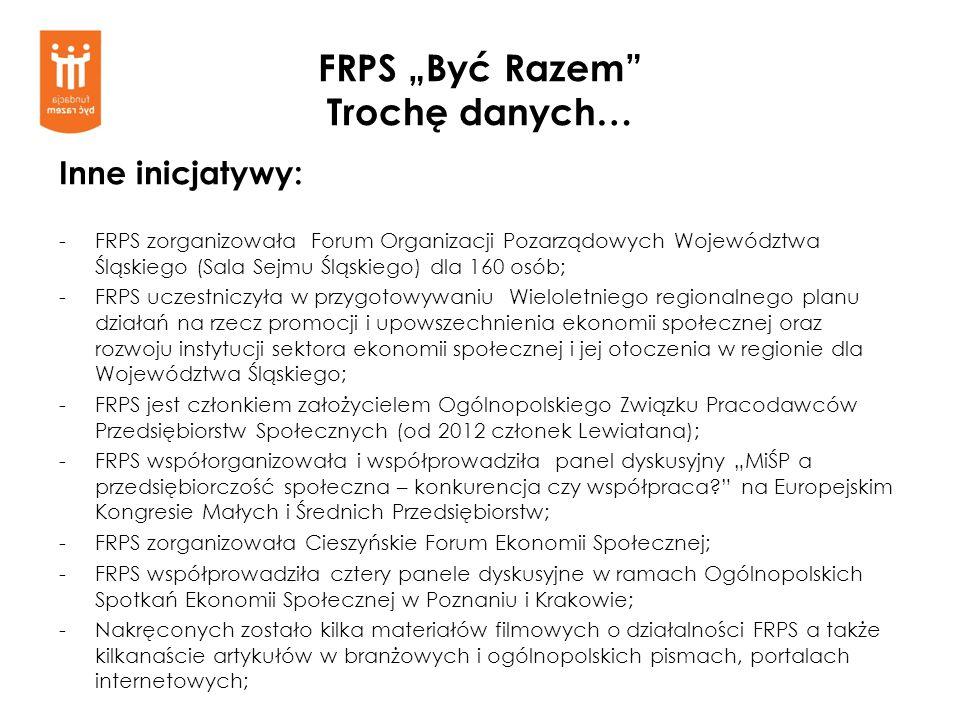 FRPS Być Razem Trochę danych… Inne inicjatywy: -FRPS zorganizowała Forum Organizacji Pozarządowych Województwa Śląskiego (Sala Sejmu Śląskiego) dla 16