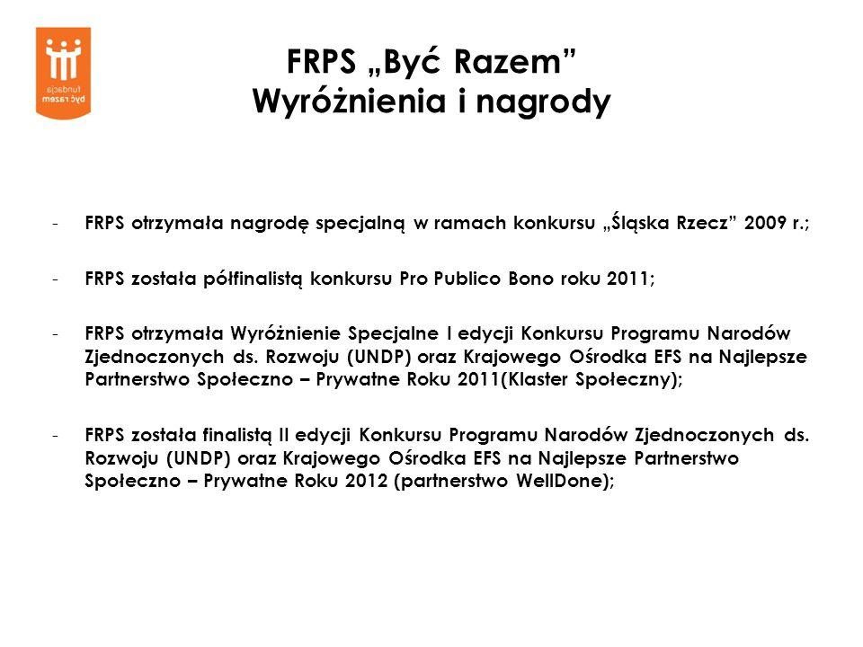 FRPS Być Razem Wyróżnienia i nagrody - FRPS otrzymała nagrodę specjalną w ramach konkursu Śląska Rzecz 2009 r.; - FRPS została półfinalistą konkursu P