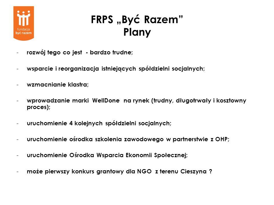 FRPS Być Razem Plany - rozwój tego co jest - bardzo trudne; - wsparcie i reorganizacja istniejących spółdzielni socjalnych; - wzmacnianie klastra; - w