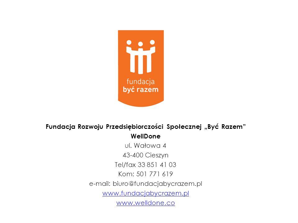 Fundacja Rozwoju Przedsiębiorczości Społecznej Być Razem WellDone ul. Wałowa 4 43-400 Cieszyn Tel/fax 33 851 41 03 Kom: 501 771 619 e-mail: biuro@fund