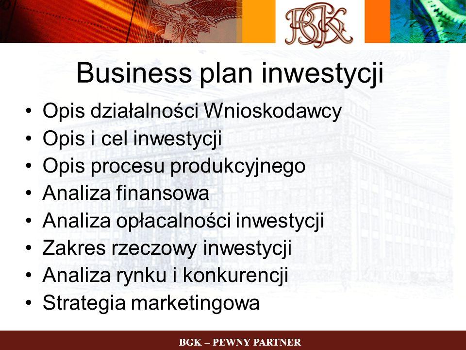 Business plan inwestycji Opis działalności Wnioskodawcy Opis i cel inwestycji Opis procesu produkcyjnego Analiza finansowa Analiza opłacalności inwest