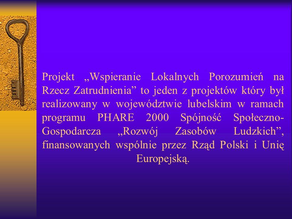 Projekt Wspieranie Lokalnych Porozumień na Rzecz Zatrudnienia to jeden z projektów który był realizowany w województwie lubelskim w ramach programu PHARE 2000 Spójność Społeczno- Gospodarcza Rozwój Zasobów Ludzkich, finansowanych wspólnie przez Rząd Polski i Unię Europejską.