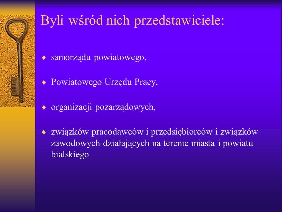 Byli wśród nich przedstawiciele: samorządu powiatowego, Powiatowego Urzędu Pracy, organizacji pozarządowych, związków pracodawców i przedsiębiorców i związków zawodowych działających na terenie miasta i powiatu bialskiego
