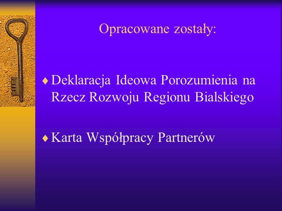 Opracowane zostały: Deklaracja Ideowa Porozumienia na Rzecz Rozwoju Regionu Bialskiego Karta Współpracy Partnerów