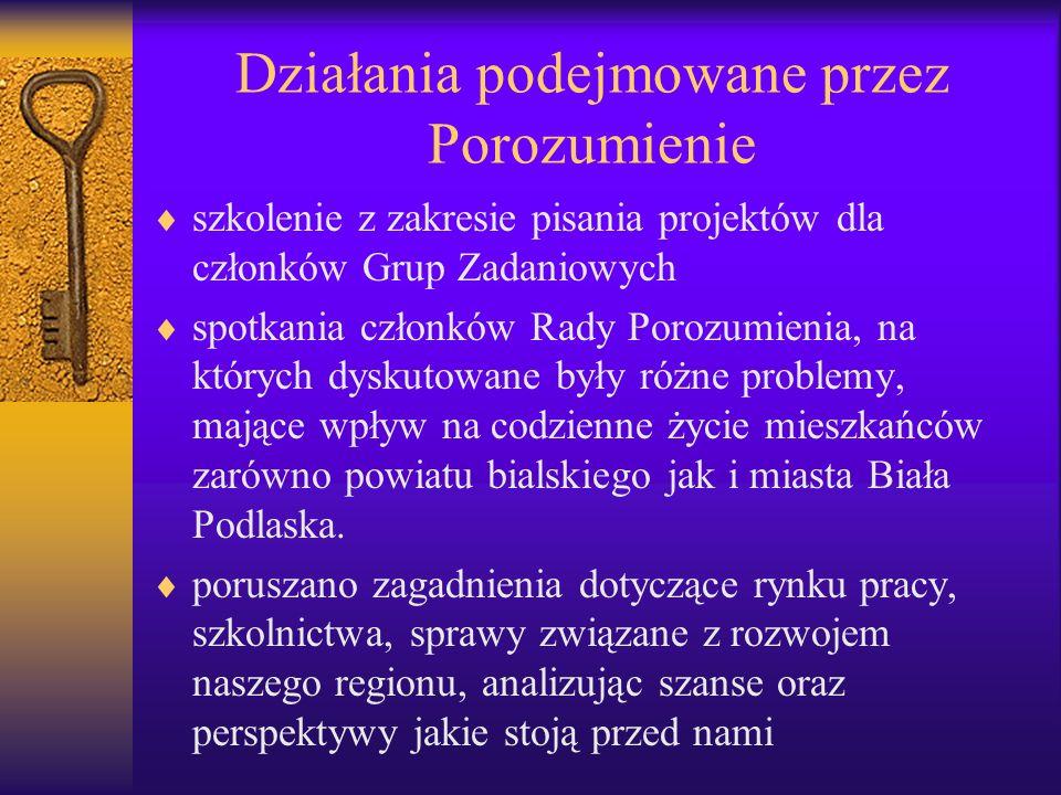 Działania podejmowane przez Porozumienie szkolenie z zakresie pisania projektów dla członków Grup Zadaniowych spotkania członków Rady Porozumienia, na których dyskutowane były różne problemy, mające wpływ na codzienne życie mieszkańców zarówno powiatu bialskiego jak i miasta Biała Podlaska.