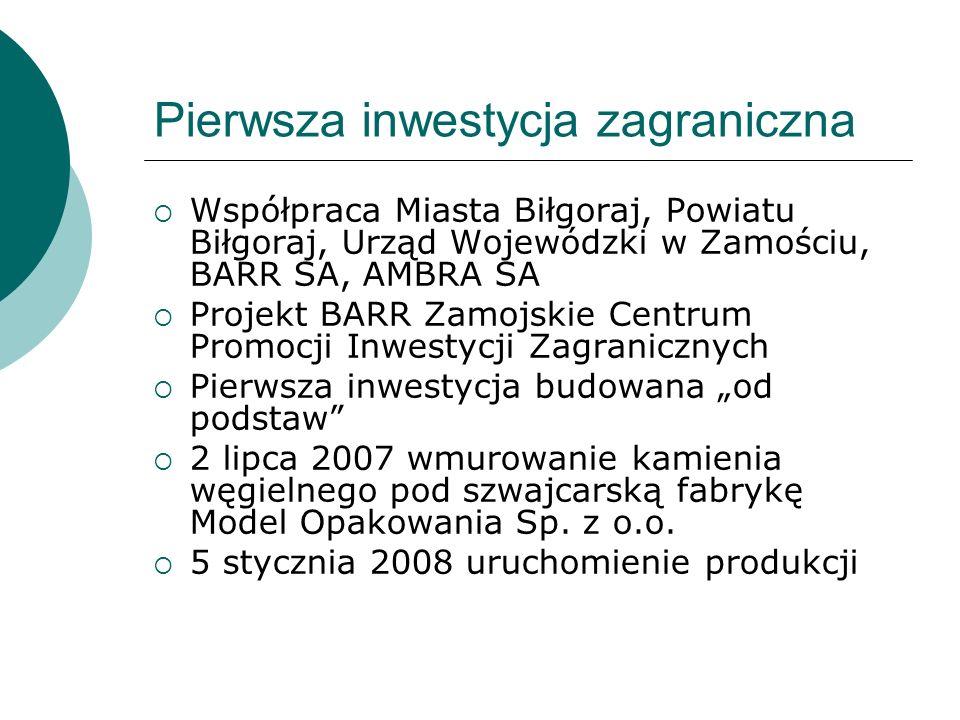 Pierwsza inwestycja zagraniczna Współpraca Miasta Biłgoraj, Powiatu Biłgoraj, Urząd Wojewódzki w Zamościu, BARR SA, AMBRA SA Projekt BARR Zamojskie Centrum Promocji Inwestycji Zagranicznych Pierwsza inwestycja budowana od podstaw 2 lipca 2007 wmurowanie kamienia węgielnego pod szwajcarską fabrykę Model Opakowania Sp.
