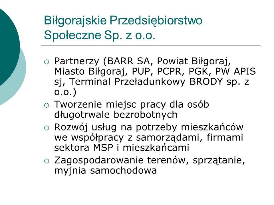 Biłgorajskie Przedsiębiorstwo Społeczne Sp. z o.o. Partnerzy (BARR SA, Powiat Biłgoraj, Miasto Biłgoraj, PUP, PCPR, PGK, PW APIS sj, Terminal Przeładu