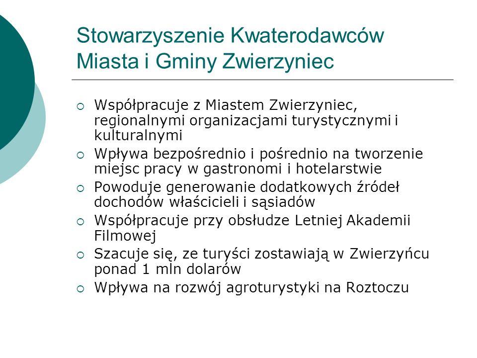 Stowarzyszenie Kwaterodawców Miasta i Gminy Zwierzyniec Współpracuje z Miastem Zwierzyniec, regionalnymi organizacjami turystycznymi i kulturalnymi Wp