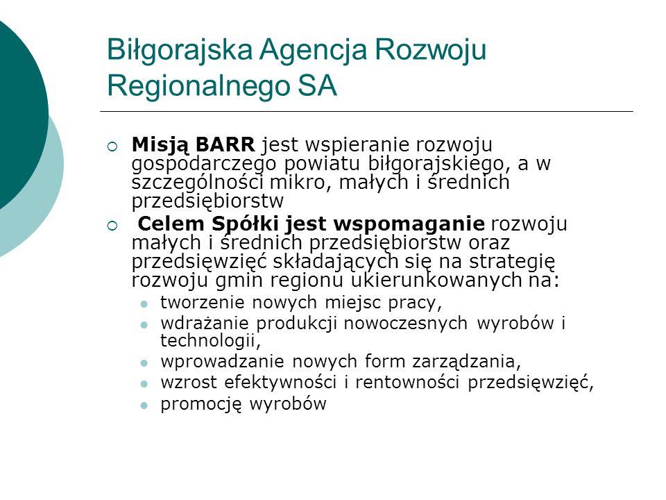 Biłgorajska Agencja Rozwoju Regionalnego SA Misją BARR jest wspieranie rozwoju gospodarczego powiatu biłgorajskiego, a w szczególności mikro, małych i średnich przedsiębiorstw Celem Spółki jest wspomaganie rozwoju małych i średnich przedsiębiorstw oraz przedsięwzięć składających się na strategię rozwoju gmin regionu ukierunkowanych na: tworzenie nowych miejsc pracy, wdrażanie produkcji nowoczesnych wyrobów i technologii, wprowadzanie nowych form zarządzania, wzrost efektywności i rentowności przedsięwzięć, promocję wyrobów