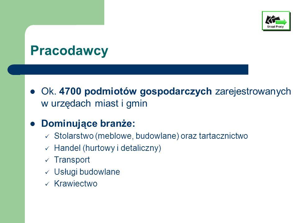 Pracodawcy Ok. 4700 podmiotów gospodarczych zarejestrowanych w urzędach miast i gmin Dominujące branże: Stolarstwo (meblowe, budowlane) oraz tartaczni