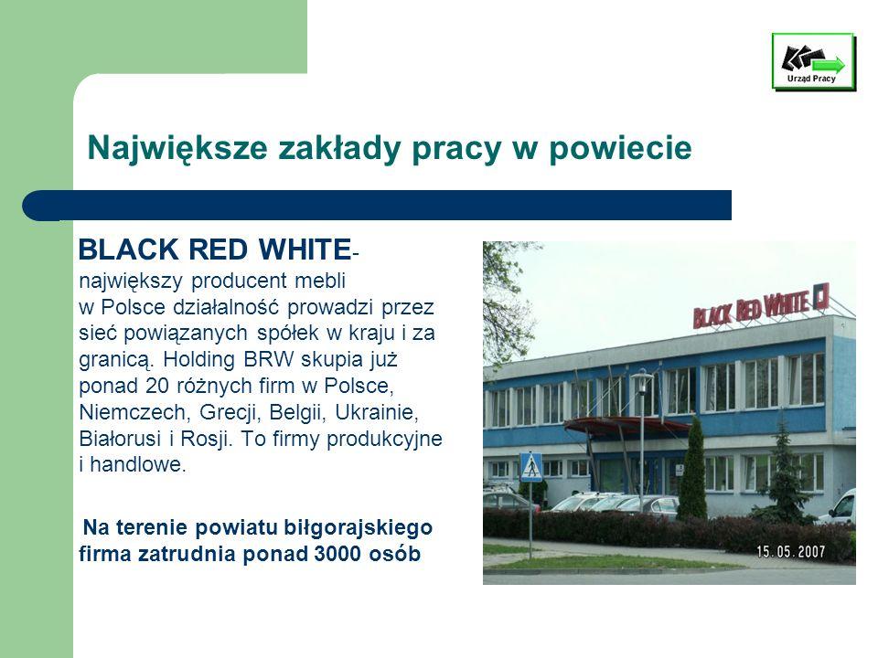 Największe zakłady pracy w powiecie BLACK RED WHITE - największy producent mebli w Polsce działalność prowadzi przez sieć powiązanych spółek w kraju i