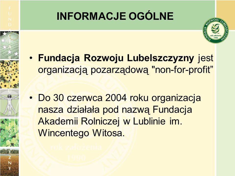 Fundacja Rozwoju Lubelszczyzny jest organizacją pozarządową non-for-profit Do 30 czerwca 2004 roku organizacja nasza działała pod nazwą Fundacja Akademii Rolniczej w Lublinie im.