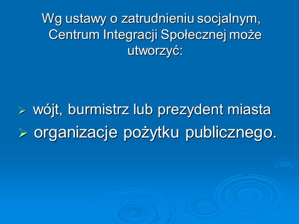 Wg ustawy o zatrudnieniu socjalnym, Centrum Integracji Społecznej może utworzyć: Wg ustawy o zatrudnieniu socjalnym, Centrum Integracji Społecznej może utworzyć: wójt, burmistrz lub prezydent miasta wójt, burmistrz lub prezydent miasta organizacje pożytku publicznego.