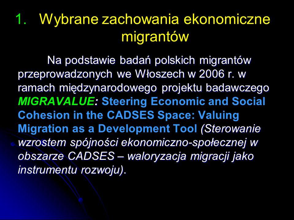 1. 1.Wybrane zachowania ekonomiczne migrantów Na podstawie badań polskich migrantów przeprowadzonych we Włoszech w 2006 r. w ramach międzynarodowego p