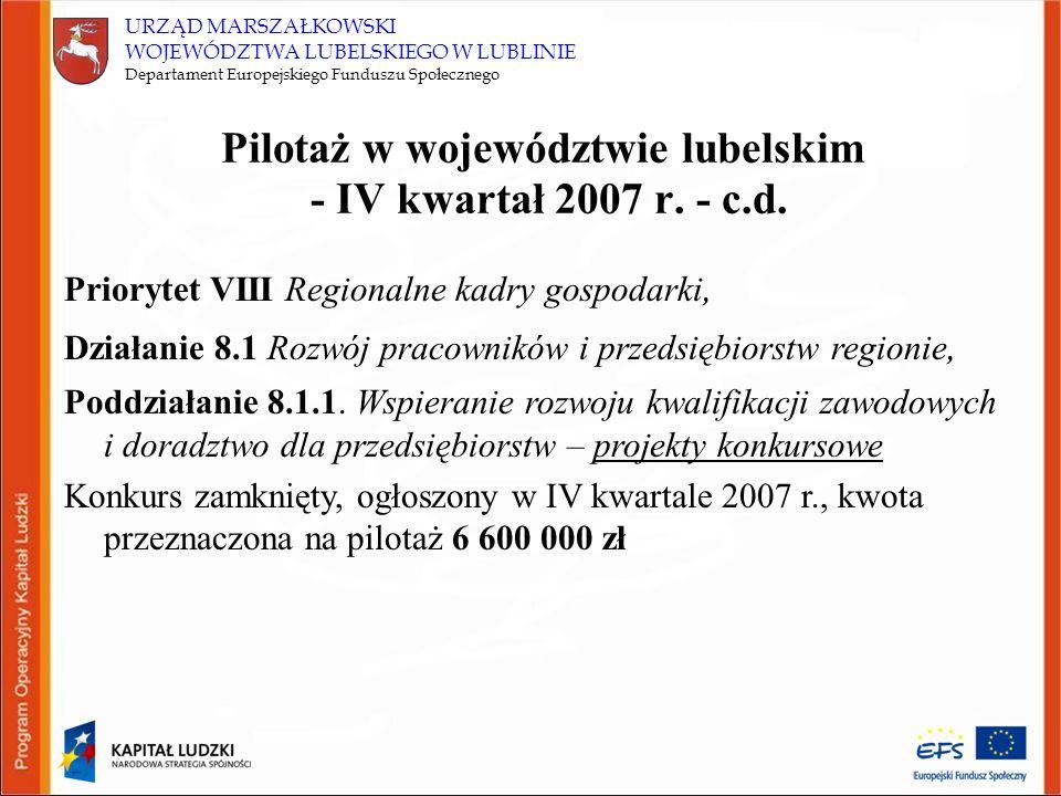 URZĄD MARSZAŁKOWSKI WOJEWÓDZTWA LUBELSKIEGO W LUBLINIE Departament Europejskiego Funduszu Społecznego Pilotaż w województwie lubelskim - IV kwartał 2007 r.