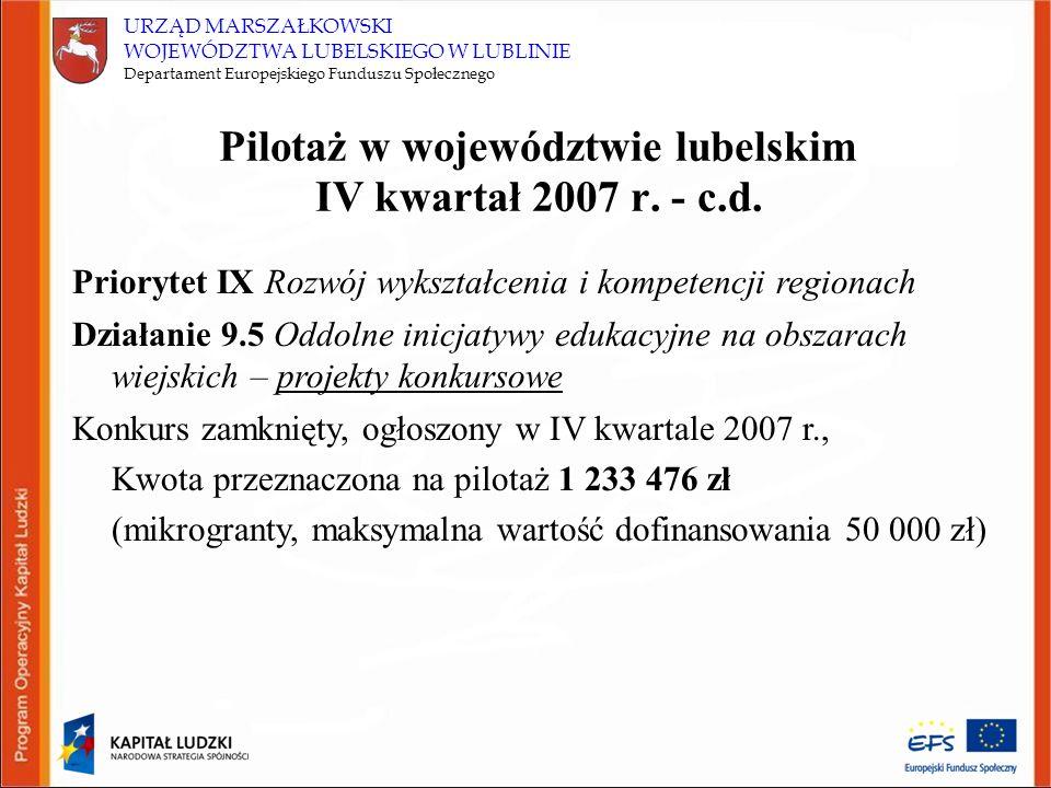 URZĄD MARSZAŁKOWSKI WOJEWÓDZTWA LUBELSKIEGO W LUBLINIE Departament Europejskiego Funduszu Społecznego Pilotaż w województwie lubelskim IV kwartał 2007 r.
