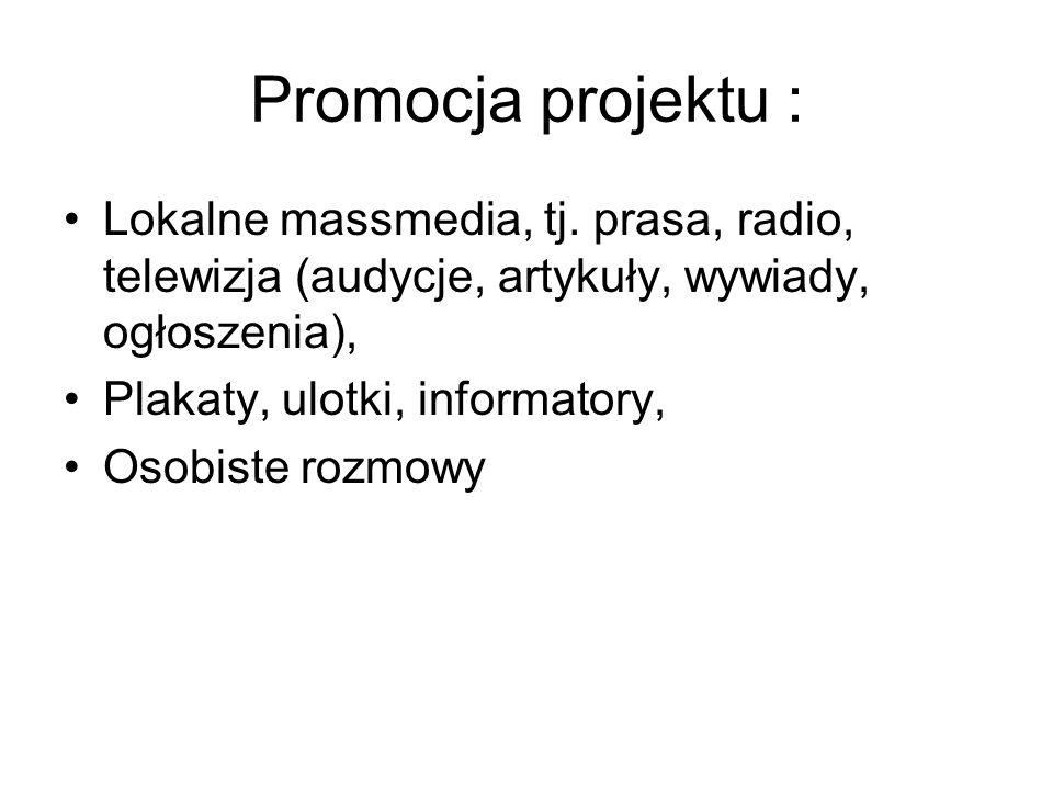 Promocja projektu : Lokalne massmedia, tj.