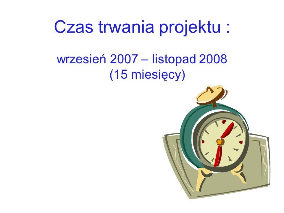 Czas trwania projektu : wrzesień 2007 – listopad 2008 (15 miesięcy)