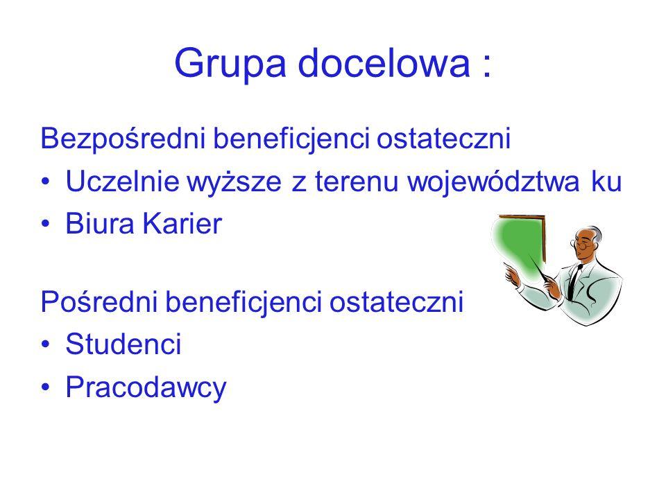 Grupa docelowa : Bezpośredni beneficjenci ostateczni Uczelnie wyższe z terenu województwa ku Biura Karier Pośredni beneficjenci ostateczni Studenci Pr