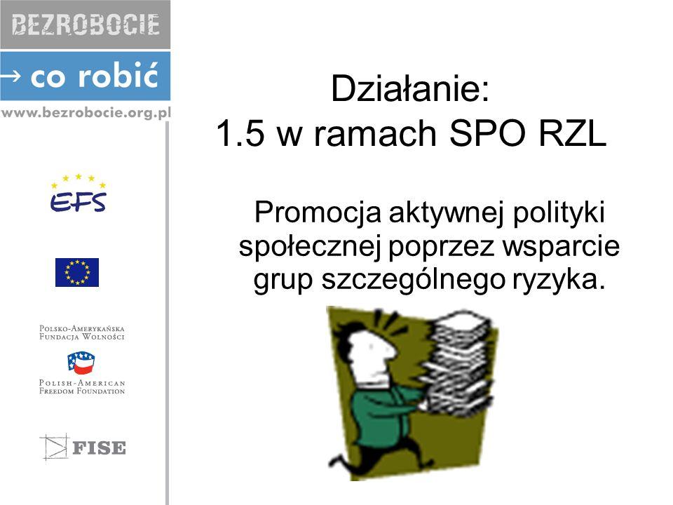 Działanie: 1.5 w ramach SPO RZL Promocja aktywnej polityki społecznej poprzez wsparcie grup szczególnego ryzyka.