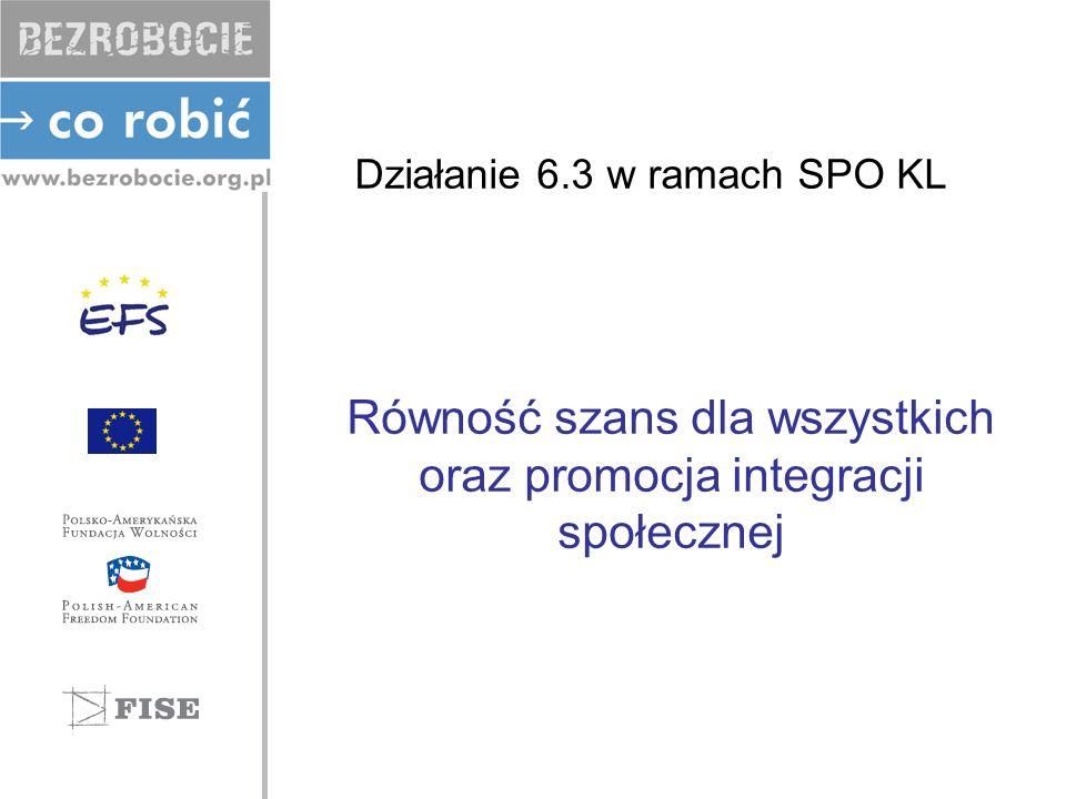 Działanie 6.3 w ramach SPO KL Równość szans dla wszystkich oraz promocja integracji społecznej