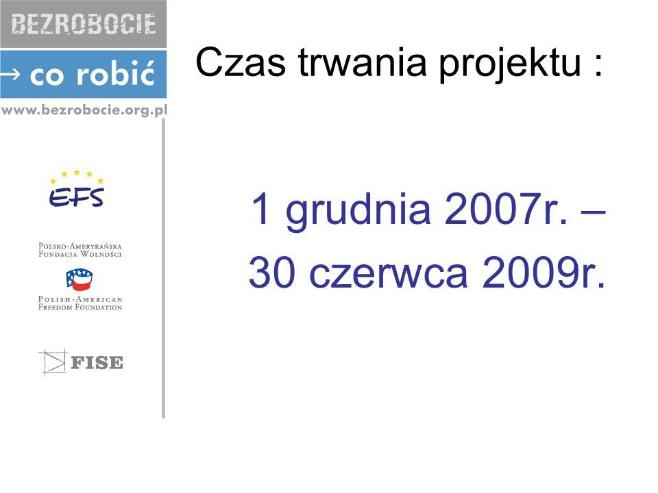 Czas trwania projektu : 1 grudnia 2007r. – 30 czerwca 2009r.