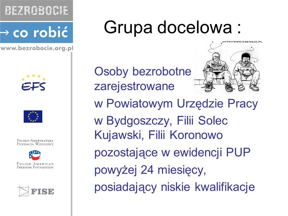 Grupa docelowa : Osoby bezrobotne zarejestrowane w Powiatowym Urzędzie Pracy w Bydgoszczy, Filii Solec Kujawski, Filii Koronowo pozostające w ewidencj