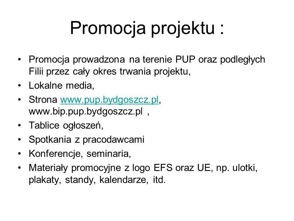 Promocja projektu : Promocja prowadzona na terenie PUP oraz podległych Filii przez cały okres trwania projektu, Lokalne media, Strona www.pup.bydgoszc