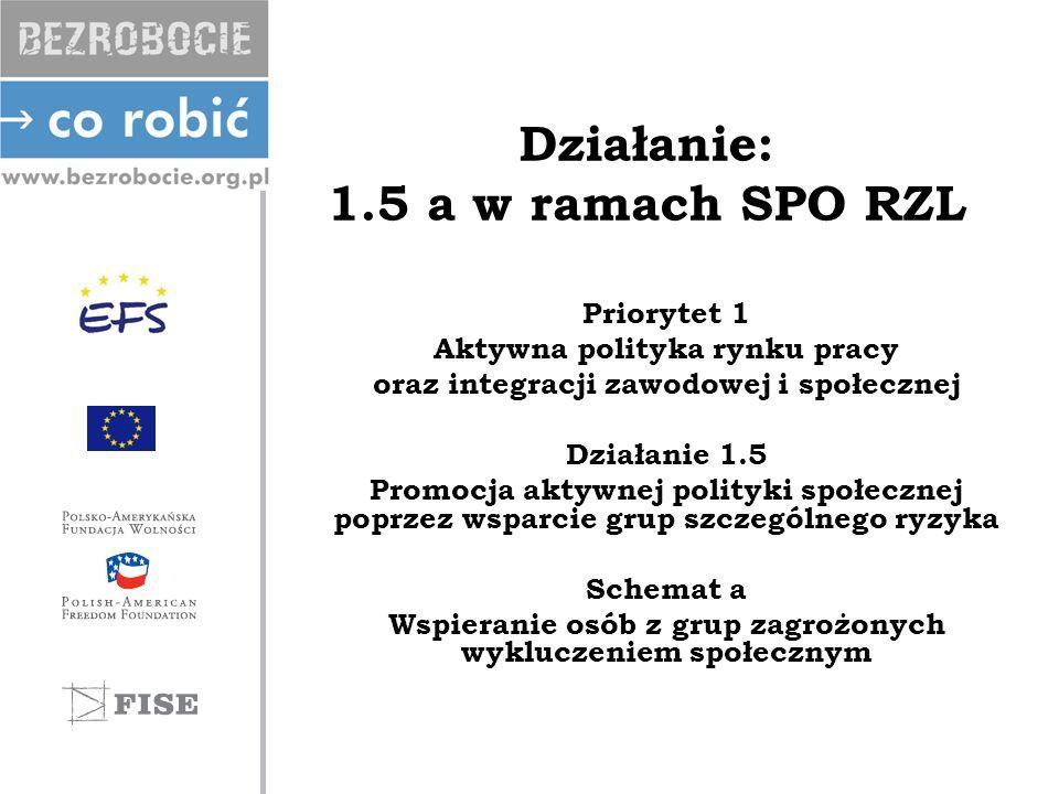 Działanie: 1.5 a w ramach SPO RZL Priorytet 1 Aktywna polityka rynku pracy oraz integracji zawodowej i społecznej Działanie 1.5 Promocja aktywnej poli