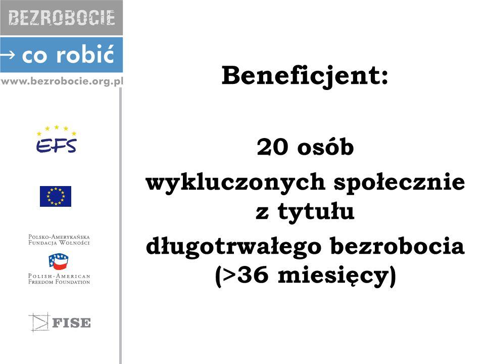 Beneficjent: 20 osób wykluczonych społecznie z tytułu długotrwałego bezrobocia (>36 miesięcy)