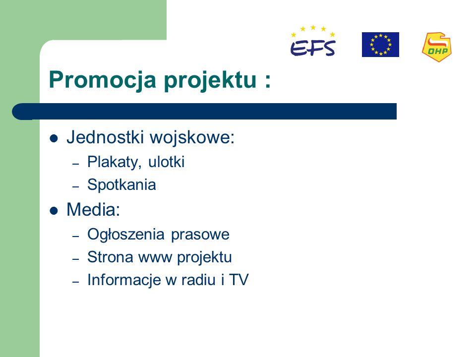 Promocja projektu : Jednostki wojskowe: – Plakaty, ulotki – Spotkania Media: – Ogłoszenia prasowe – Strona www projektu – Informacje w radiu i TV