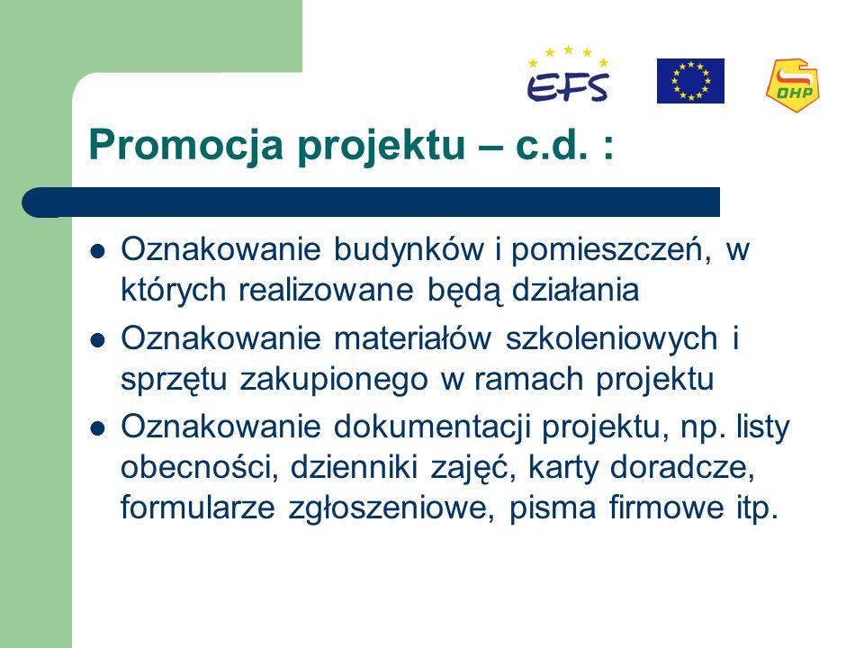 Promocja projektu – c.d.
