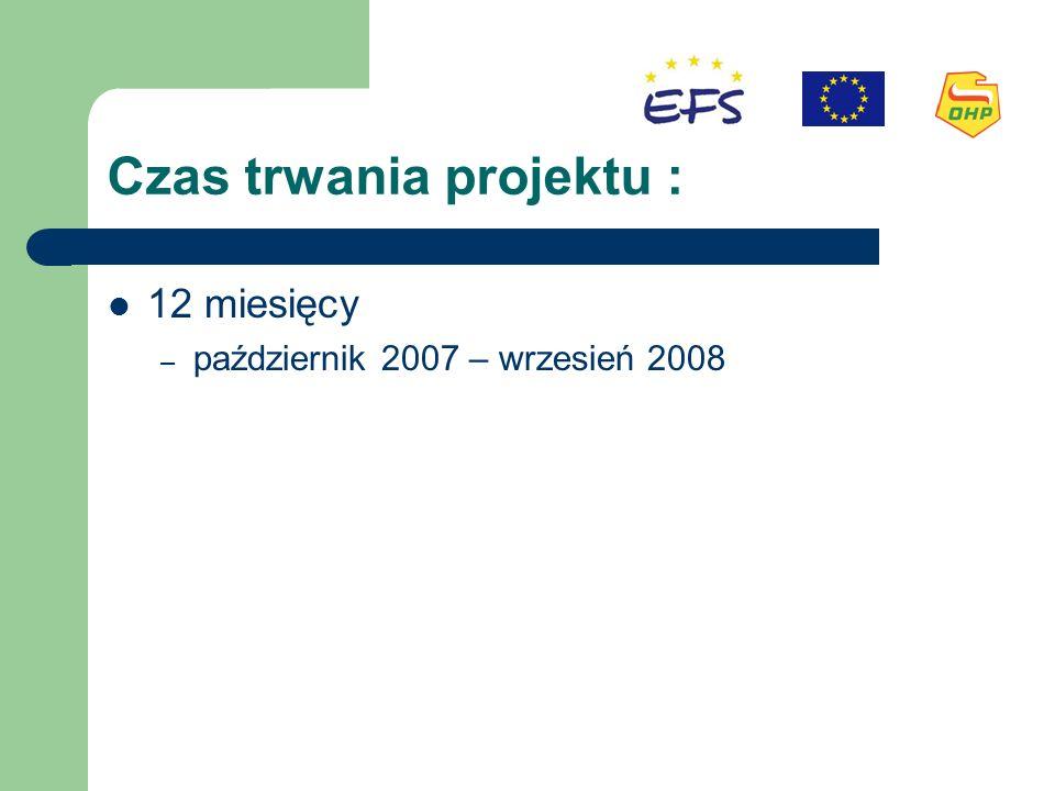 Czas trwania projektu : 12 miesięcy – październik 2007 – wrzesień 2008