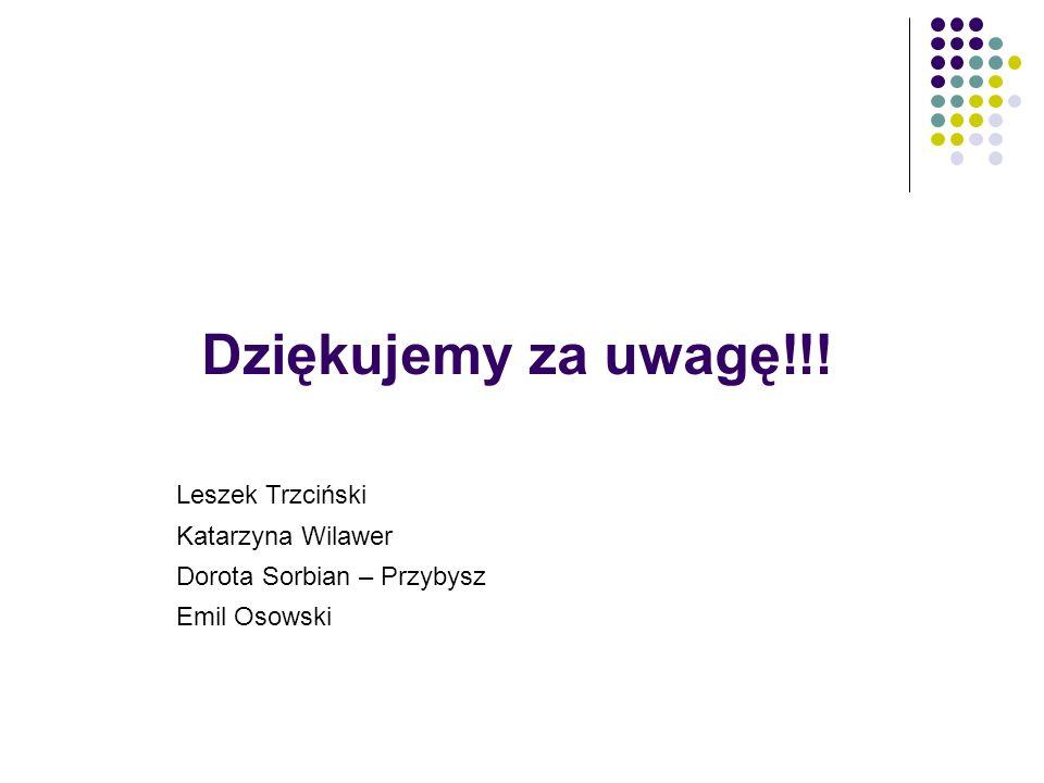 Dziękujemy za uwagę!!! Leszek Trzciński Katarzyna Wilawer Dorota Sorbian – Przybysz Emil Osowski