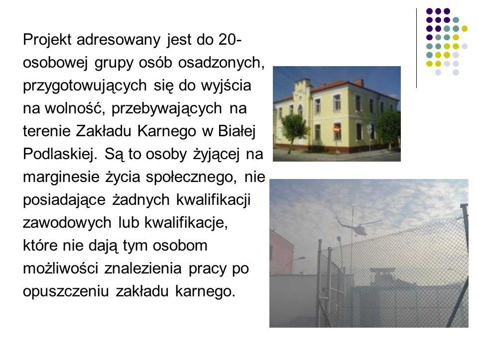 Projekt adresowany jest do 20- osobowej grupy osób osadzonych, przygotowujących się do wyjścia na wolność, przebywających na terenie Zakładu Karnego w